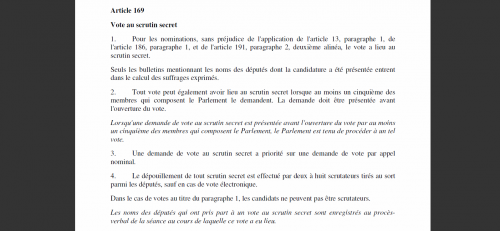 ACTA vote secret article 169 réglement intérieur