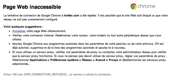 Twitter inaccessible 21 juin 2012