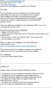 Recapitulatif commande Bouygues Telecom Femto-cell
