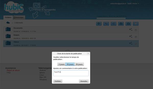hubic application web partage duree publication