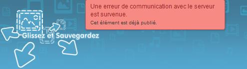 hubic web app erreur partage