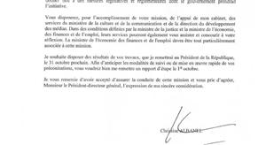 lettre mission olivennes albanel