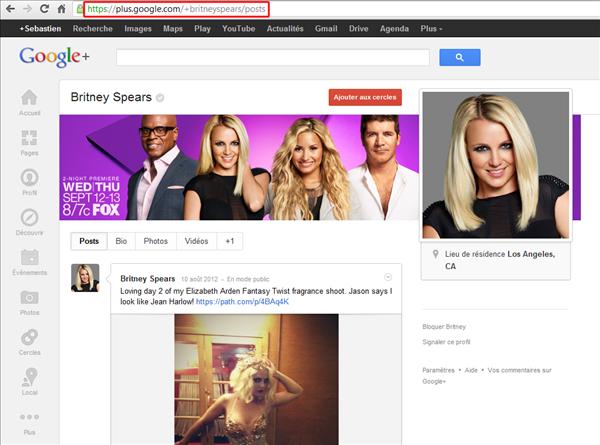 google+ url raccourcie britney spears