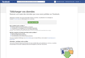 facebook telecharger donnees