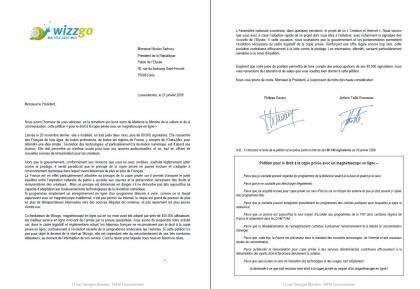 wizzgo lettre nicolas sarkozy copie privée