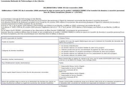 CNIL délibération 3 suisses données personnelles