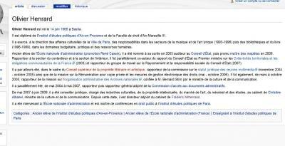 olivier henrard wikipedia modification controverse