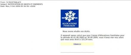 CAF caisse allocations familiales phishing