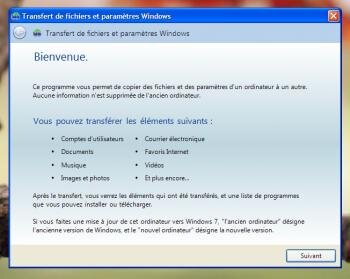 windows assistant transfert