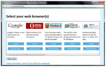 windows choix navigateurs ecran selection
