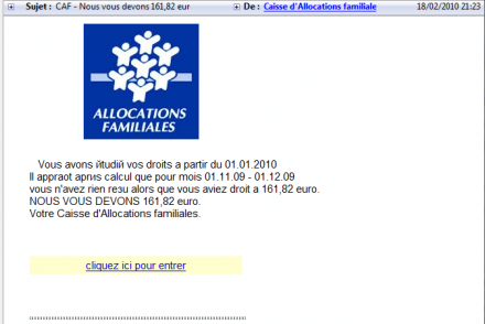 CAF phishing escroquerie arnaque mail