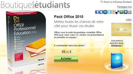 Microsoft Pack Office 2010 Etudiants