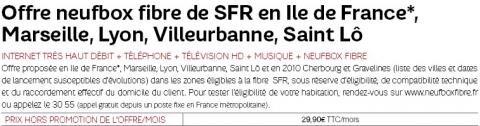 Fibre optique SFR prix