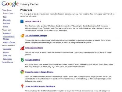 Google outils vie privée
