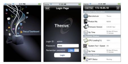 Thecus Dashboard iOS iPhone NAS