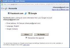 Facebook importation Gmail