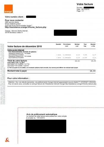 facture orange TVA
