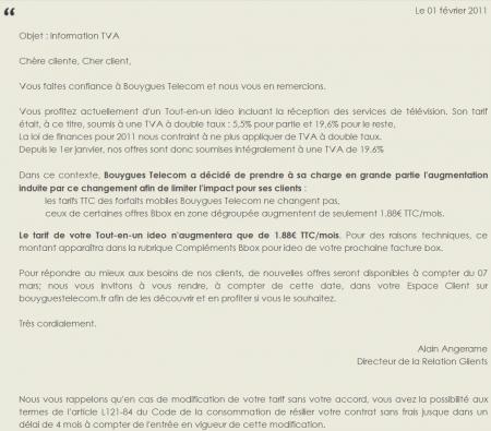 Bouygues Telecom hausse TVA Bbox ADSL Ideo