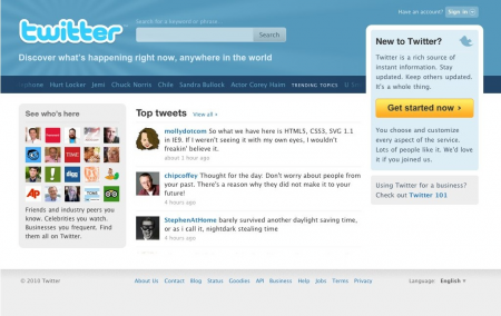 Twitter Home 2010
